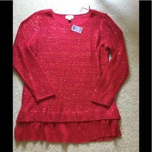 NWT ladies lg sequin tunic sweater w /silk ruffle